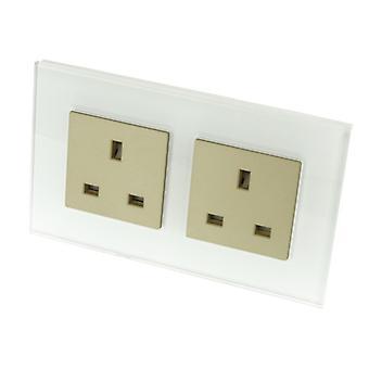 I LumoS Luxury Unswitched White Glass 13A UK Wall Plug Double Socket