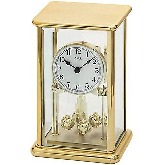 AMS annual watch quartz mineral crystal with messingfarbenem metal housing Rotary pendulum clock
