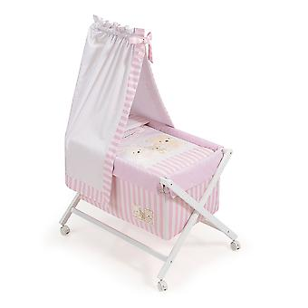 Interbaby Minicuna White With Textile canopied Model Love Rosa