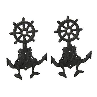 Mermaid Twins Nautical Anchor 2 Piece Wall Hook Set
