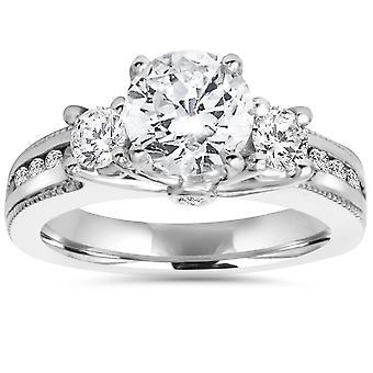 2 ct 3-Stone Round Diamond Engagement Ring 14k White Gold Milgrain Accent