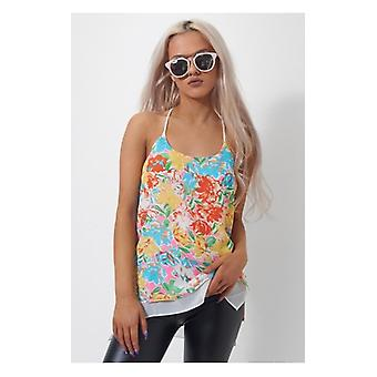 The Fashion Bible Oversized Racer Back Floral Chiffon Vest Top