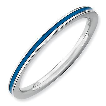 Sterling Silver Stackable Expressions Blue Enameled 1.5mm Ring - Ring Size: 5 to 10