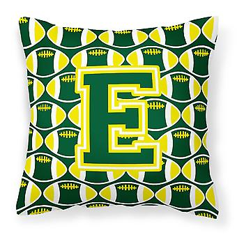 Letter E Football Green and Yellow Fabric Decorative Pillow