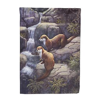 Otters by the Waterfall by Daphne Baxter Flag Garden Size