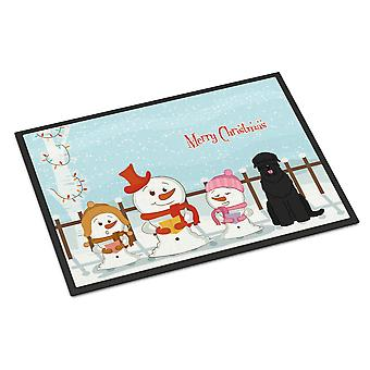 Merry Christmas Carolers schwarzer russischer Terrier Indoor oder Outdoor Mat 24 x 36