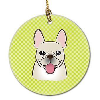 Checkerboard Lime Green French Bulldog Ceramic Ornament
