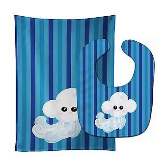 Carolines Treasures  BB7157STBU Weather Windy Face Baby Bib & Burp Cloth