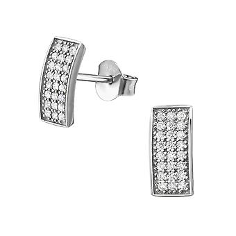 Rectangle - Cubic Zirconia + 925 Sterling Silver Cubic Zirconia Ear Studs - W34413x