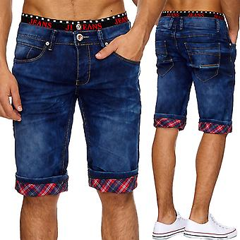 Herren Jeans shorts Stonewashed Stretchband shorts denim cargo Capri summer