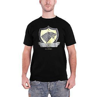 Juego de tronos T camisa Stark Escudo nuevo oficial para hombre negro