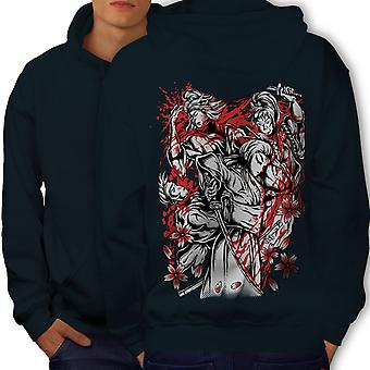 Hero Knight Warrior Men NavyHoodie Back | Wellcoda