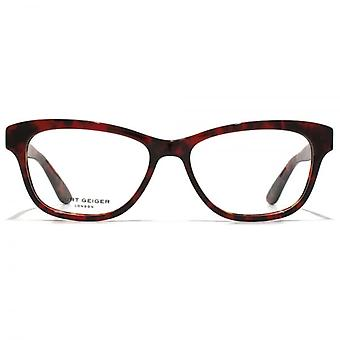 Kurt Geiger Eliza Preppy Soft Rectangular Acetate Glasses In Red Tortoiseshell