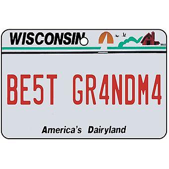 Wisconsin - Best Grandma License Plate Car Air Freshener