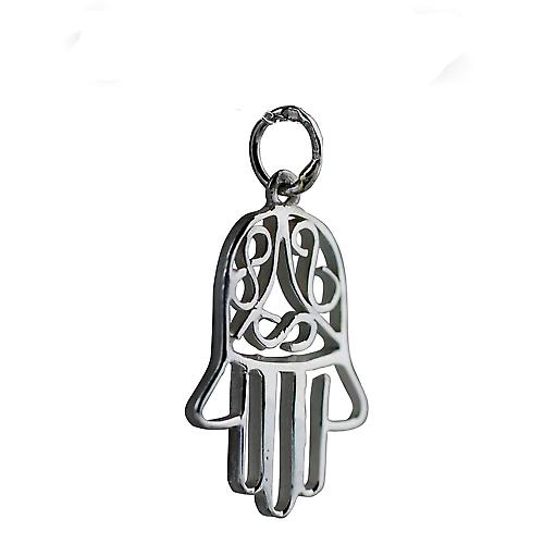 Silver 24x12mm Hand of Fatima Pendant or Charm