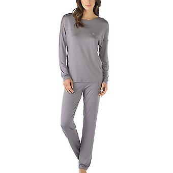 Mey 14934-420 Women's Selina Shale Grey Solid Colour Pajama Long Sleeve Pyjama Set