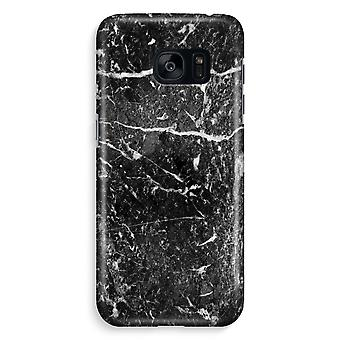 Samsung S7 Edge Full Print Case - Black marble