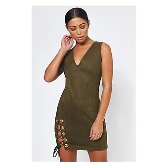 The Fashion Bible Khaki Suede Lace Up Mini Dress