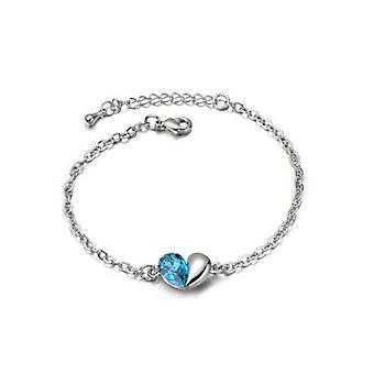 Himmelsblå kärlek hjärtat tema kristall Silver smycken armband