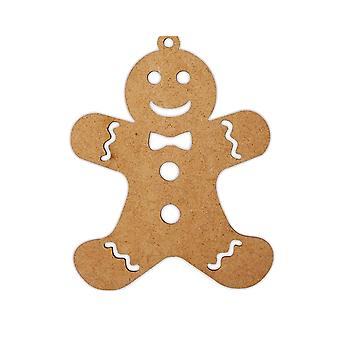 Wooden Gingerbread Man Christmas Bauble Shape to Decorate