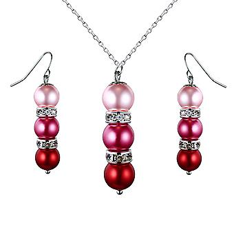 Set necklace and earrings pearls Roses, Crystal and Rhodium plate