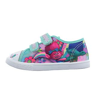 Girls Trolls Green Pink Silver Glitter Canvas Trainers Sport Shoes UK Sizes 6-12