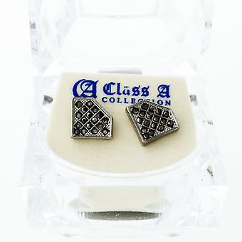 BLack bling iced out earrings - cubic zirconia 12 mm
