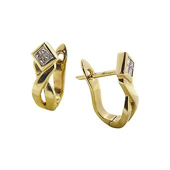 Yellow Gold earclips with diamond
