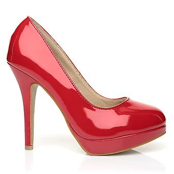 EVE Red Patent PU Leather Stiletto High Heel Platform Court Shoes