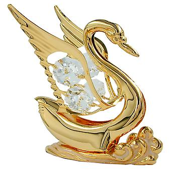 Glass figure Florencia gold plated crystal glass Swan, with glass stones