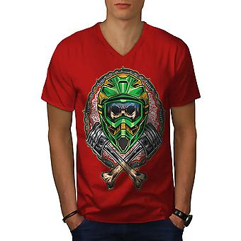 Schädel Motor Rider Männer RedV-Neck T-shirt   Wellcoda