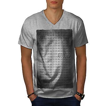 Coffee Addicted Men GreyV-Neck T-shirt   Wellcoda