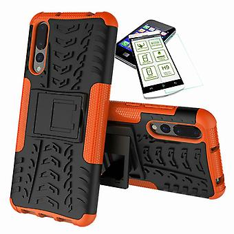 For Huawei P20 per hybrid case 2 piece Orange + tempered glass bag case cover sleeve