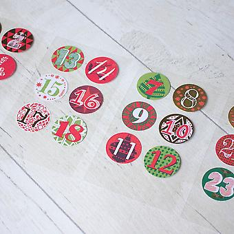 Advent Calendar Stickers Numbers 1 - 24 Create Your Own Advent Calendar