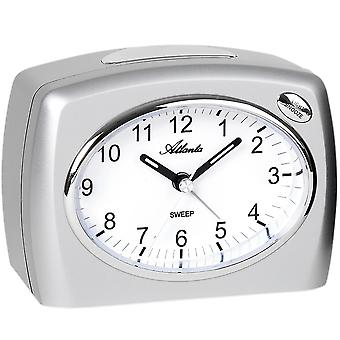 Atlanta 1964/19 alarm clock quartz analog silver quietly without ticking with light Snooze