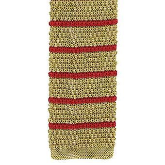 Michelsons of London Silk Knitted Striped Skinny Tie - Yellow/Red