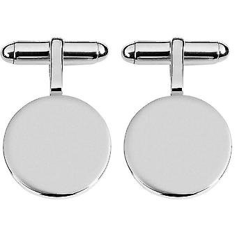 Orton West Sterling Silver 2mm Plate Round Cufflinks - Silver