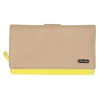Felda Long Card and Coin RFID Purse - Nude/Yellow