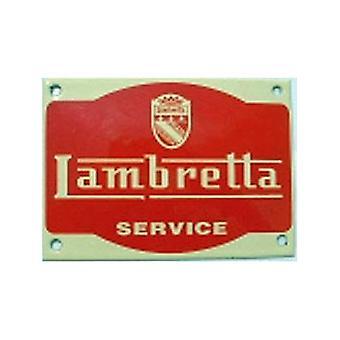 Lambretta Service Stove Enamelled Badge (Red On Yellow) (Wm 140 Mm X 100Mm)