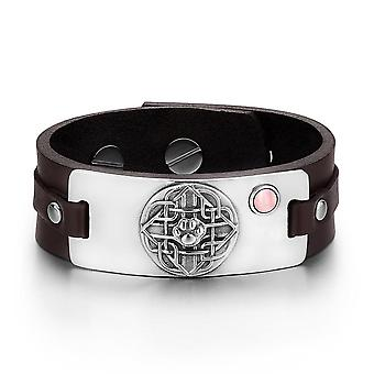 Wolf Paw Celtic Shield Knot Magic Amulet Pink Simulated Cats Eye Adjustable Brown Leather Bracelet