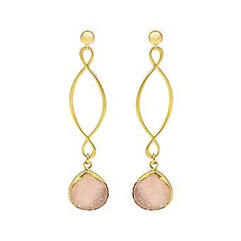Gemshine - ladies - earrings - INFINITY - 925 silver plated - DRUZY - Rose Quartz - 6.5 cm