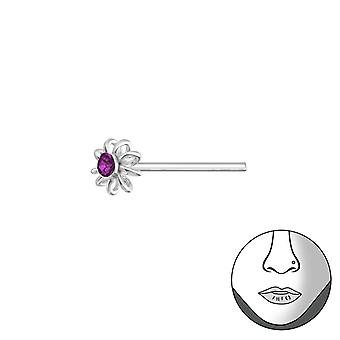 Flower - 925 Sterling Silver Nose Studs - W37468x