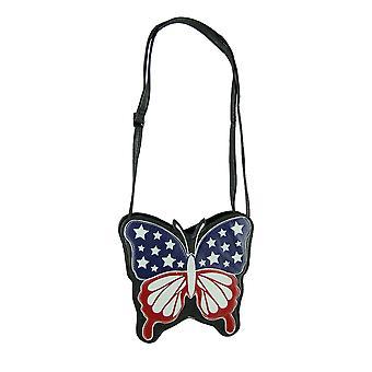 Sleepyville Critters Americana Flag Butterfly Crossbody Purse