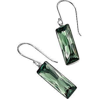 Elements Silver Rectangular Hook Earrings - Silver/Green