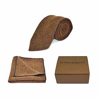 Heritage Check Cedar Brown Tie & Pocket Square Set - Tweed, Plaid Country Look | Boxed