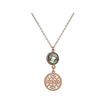 GEMSHINE mandala and Labradorite necklace. Pendant made of silver, gold plated or 45cm necklace. Made in Madrid, Spain. Delivered in an elegant gift case.