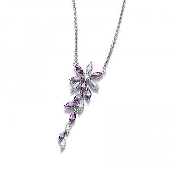 Cavendish Franse zilver en amethist CZ bloemen ketting