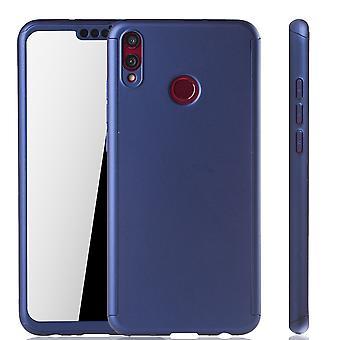 Huawei Honor 8X Handy-Hülle Schutz-Case Full-Cover Panzer Schutz Glas Blau