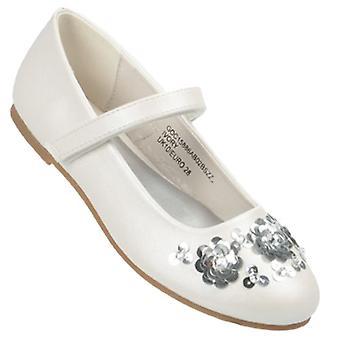 البنات قبالة أحذية راقصة بيضاء مع الديكورات زهرة الترتر الفضي