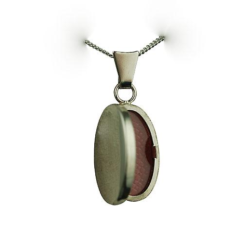 18ct White Gold 18x11mm plain oval Locket with a curb chain